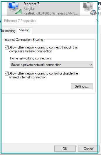 Internet Connection sharing Options