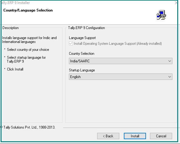 Language options tally ERP