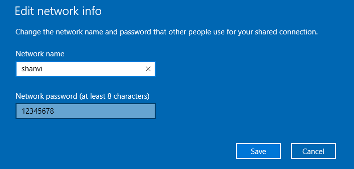 Network Password changes Options on Windows 10 for other people share connections