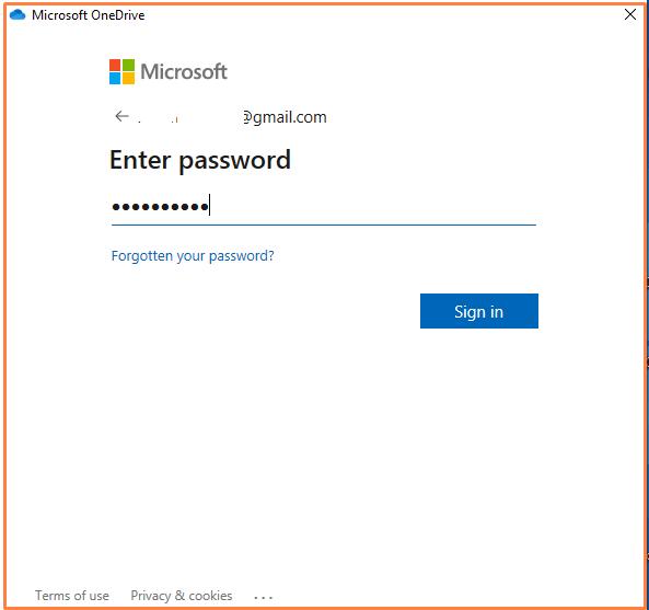 Password options to set up onedrive on Windows 10