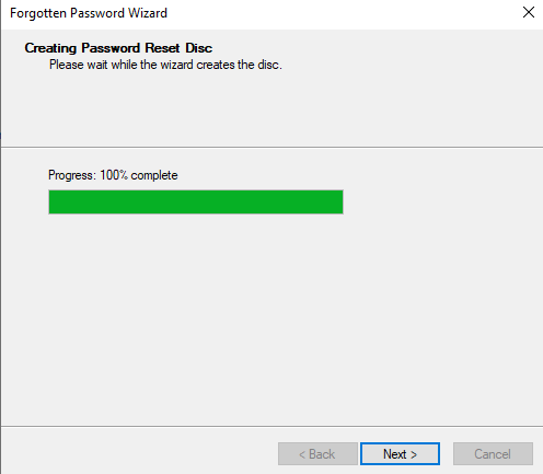 Password reset Disk Completed