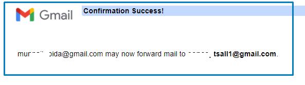 Confirmation success