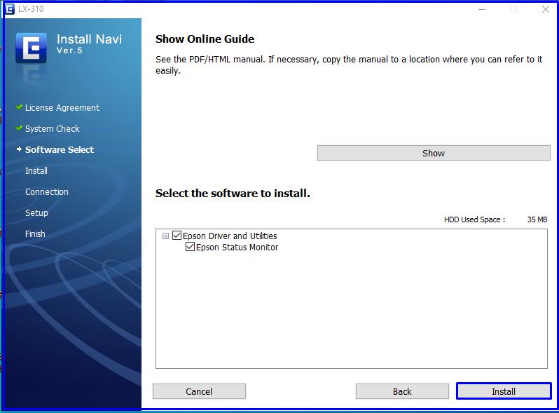 Install Epson LX-310 drivers