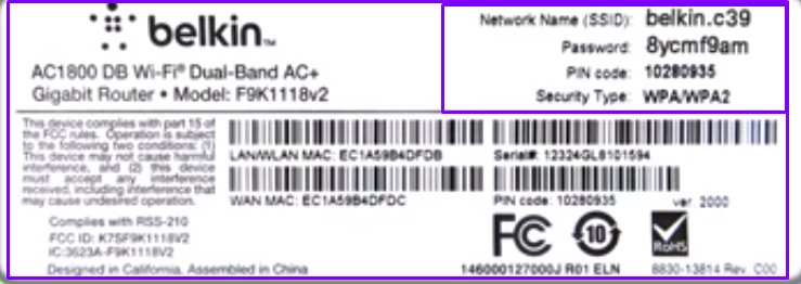 Network Name and password belkin router