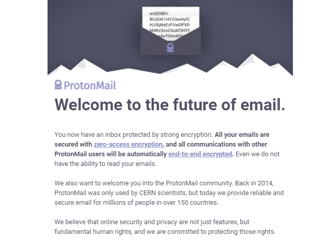 ProtonMail Welcome