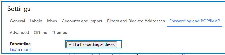 add a forward address on Gmail