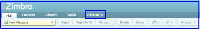preference tab of Zimbra