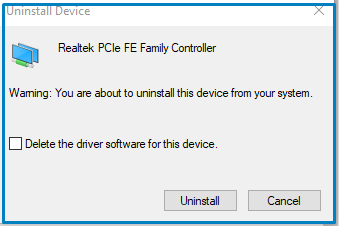 uninstall network drivers