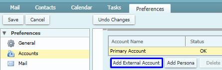 Add External Account in Zimbra