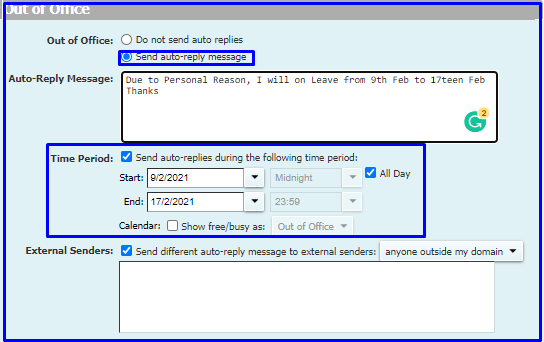 Auto Reply email in Zimbra