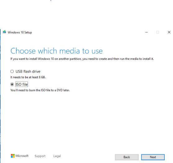 Media Option in windows 10 setup