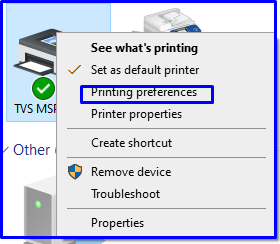 Printer preferences MSP 240 start