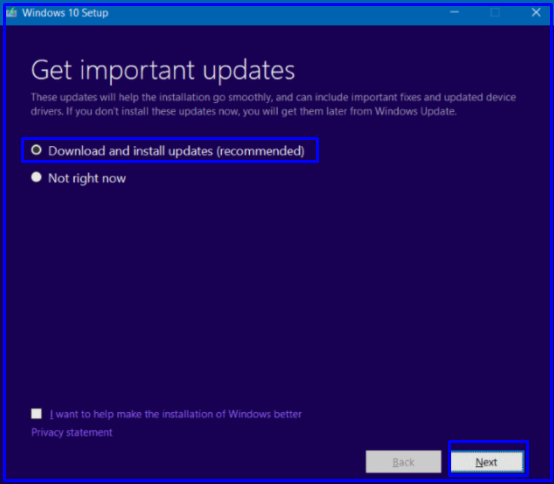 install Windows 10 recommended