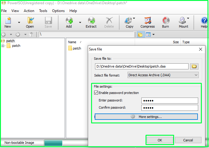 Make an ISO file using Power ISO