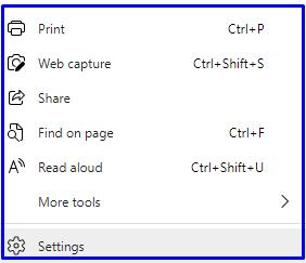 settings of Microsoft Edge browser