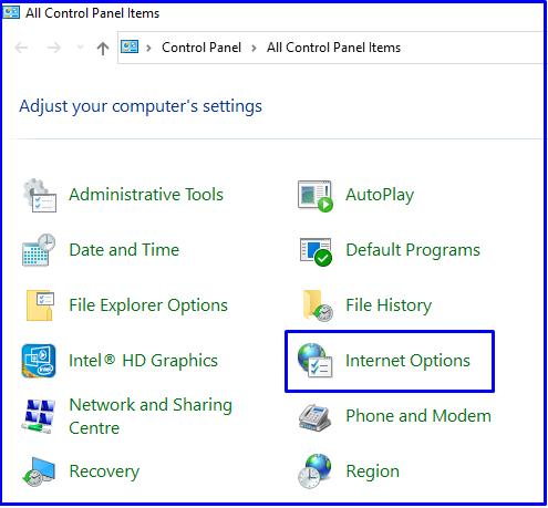 Internet Options in Control Panel Windows 10