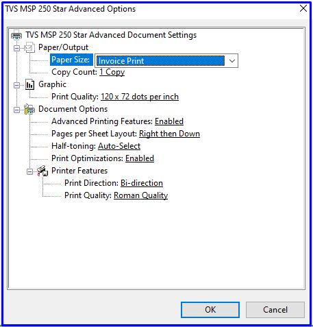 Paper size option on TVS MSP 250 Star