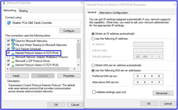 Auto assigned DNS server on Windows 10