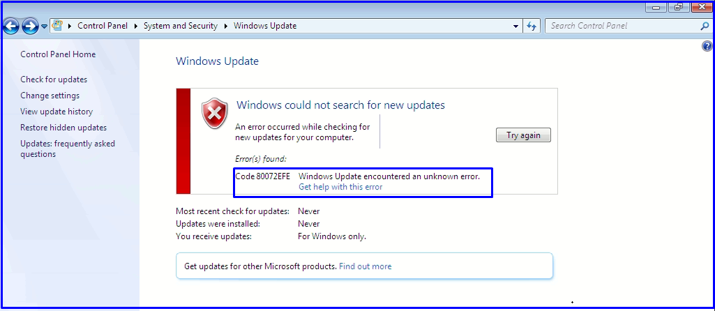 windows update encountered an unknown code 80072efe while update Windows 7