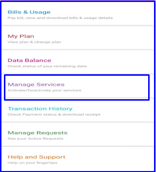 manage services using Airtel app
