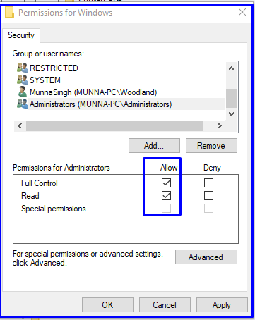 Apply permission to access Windows