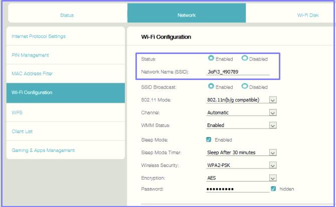 JioFI Wi-FI name change