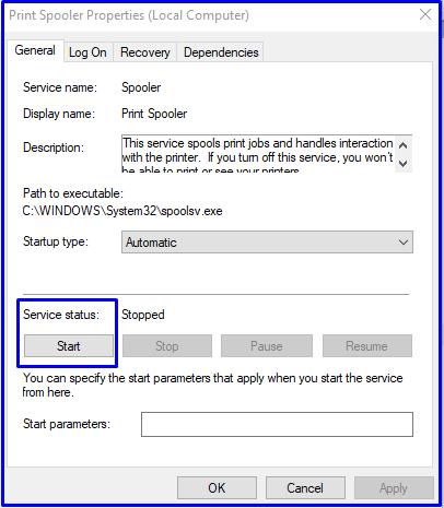 Start Print Spooler services