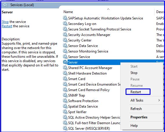 restart Windows server services