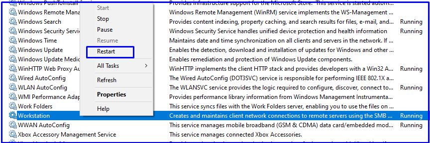 restart windows workstation services