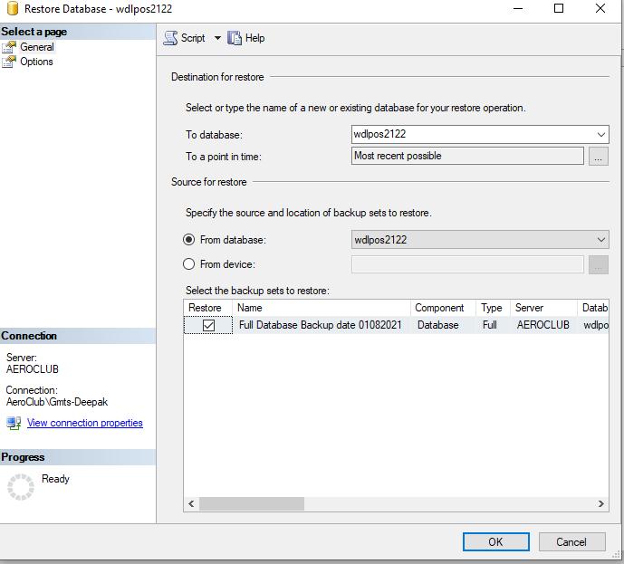 restore database using SQL database