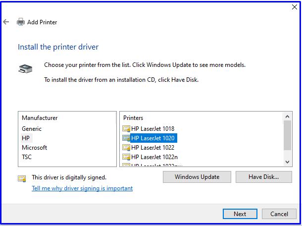 Printer install HP 1020