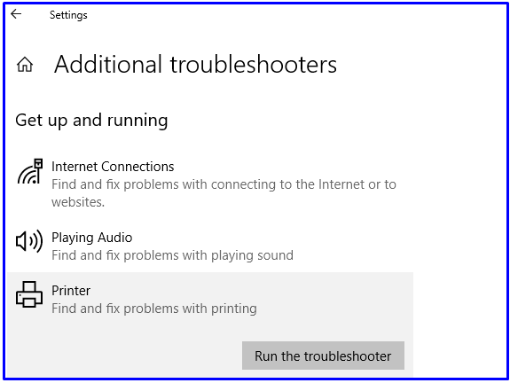 Run printer troubleshooter
