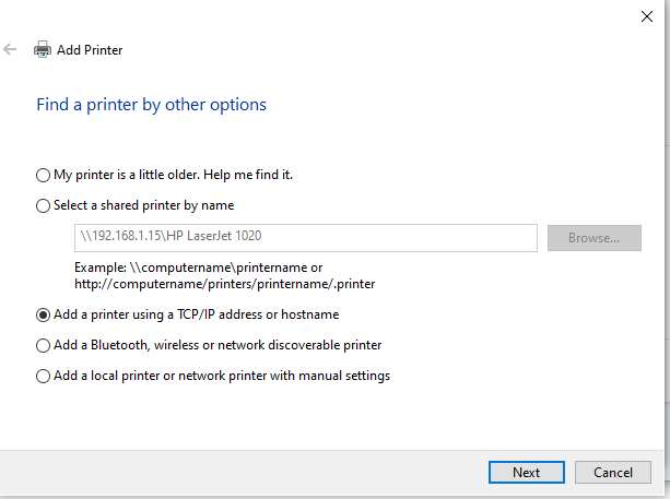 select TCP IP for finding printer